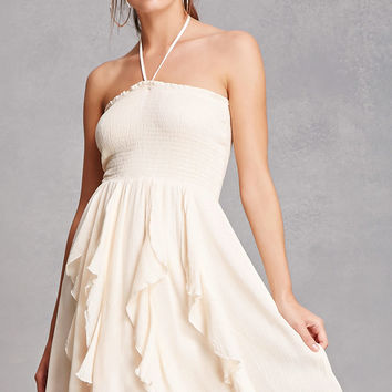 Ruffled Smock Mini Halter Dress