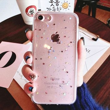 For iphone X 7 plus iphone8 Case Bling Star Silicon Clear Cover Glitter coque Case for iphone 6 s 6s plus iphone 8 plus cases