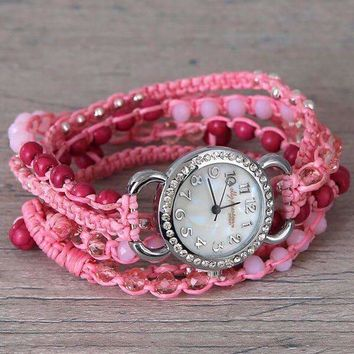 Breast Cancer Awareness Wrap Watch