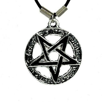 Occult Pentagram Necklace Evil Black Metal Pendant