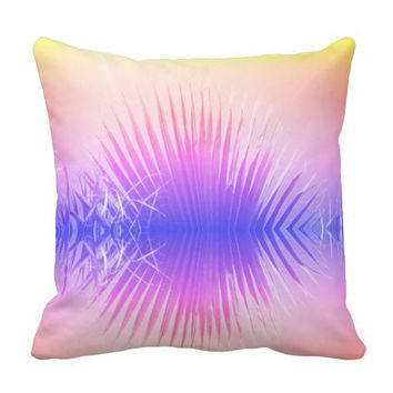 Palm Leaves Summer Beach Rainbow Cushion