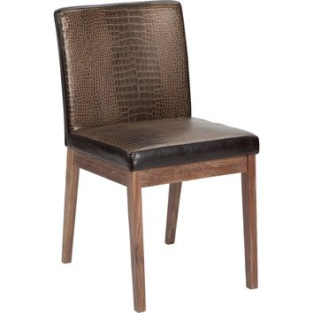 Branson Dining Chair Faux Crocodile Leather Distressed Walnut Frame &amp: Legs (Set of 2)