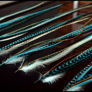 Turquoise Feather Extension Hair Accessories, Turquoise Blue Hair Feathers White Ginger Brown Feather Extension Kit with Silicone Beads, DIY