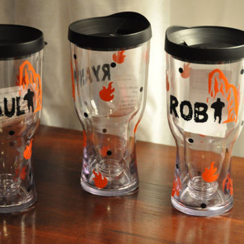 Brew 2 Go/ Beer Sippy/ Beer Tumbler/ Black/ Flames/ Running