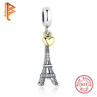 925 Sterling Silver PARIS EIFFEL TOWER PENDANT CHARM with Gold Color Heart Charm fit Pandora Bracelets Women Jewelry Accessories