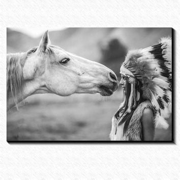 Horse and Indians Girl Art Painting Vintage canvas poster Home Decoration Classic Art Painting Canvas And Prints For Wall Decor