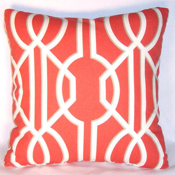 "Red Lattice Throw Pillow 17"" Square 100% Cotton White Trellis Art Deco Insert and Cover Ready to Ship"