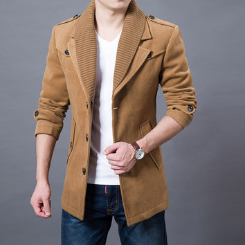 Business Men Casual Warm Coats Size M-3XL Good Quality Single Breasted Design Thicken Man Fashion Wool Clothings