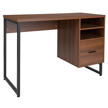 Lincoln Collection Computer Desk 2 Shelves File Drawer in Wood Finish