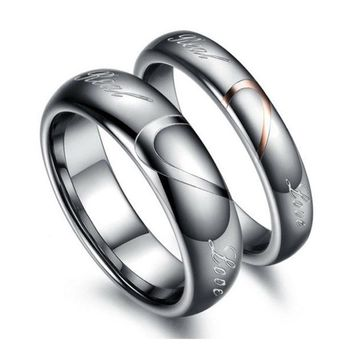 ONETOW Tungsten Carbide Lover's Matching Heart Promise Real Love Couples Rings = 1930042884
