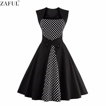 ZAFUL Plus Size 4XL Woman Dresses Retro Vintage Rockabilly Dot Hepburn Pinup Tunic Ball Grown Jurken 60s 50s Party Robe Vestidos