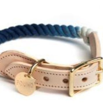 Rope & Leather Collar Indigo Ombre by Found My Animal at Baysidebuddy.com