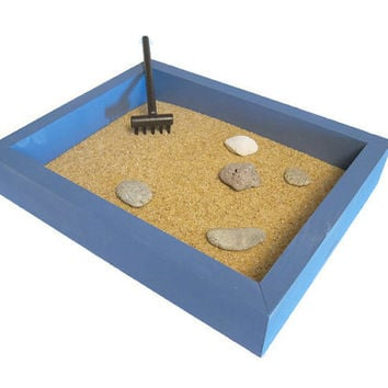 Tabletop Zen Garden - Mini Zen Garden Zen Decor Gift for Coworker - Office Accessories Office Desk Decor - Mini Garden Periwinkle Blue