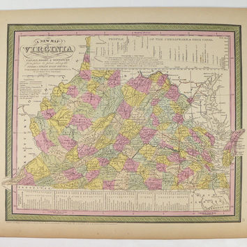 1852 Antique Map Virginia before West Virginia Map 1852 Mitchell Map, Unique Wedding Gift for Couple, Historical Map Pre Civil War Genealogy