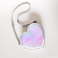 Holographic Cross Body Heart Bag, vegan