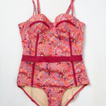 Need I Say Shore? One-Piece Swimsuit in Plumes | Mod Retro Vintage Bathing Suits | ModCloth.com