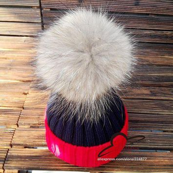 CREYCI7 15cm real fur pom pom ball Winter Brand Colorful Snow Caps Wool Knitted Beanie Hat Fur Pom Poms For Women Men Skullies Cap