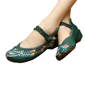Vintage Chinese Embroidered Flat Ballet Ballerina Cotton Mary Jane Style Shoes for Women in Green Floral Design