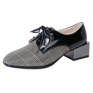Leather Plaid Middle Heels Women Oxford Shoes