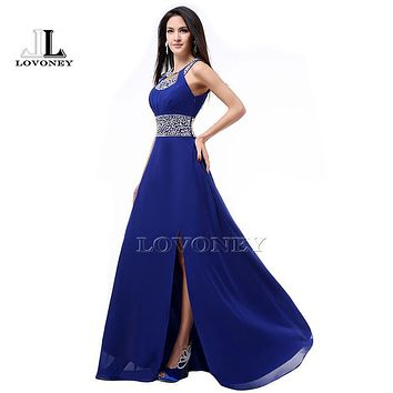 LOVONEY S322 Sexy Side Split Open Back Long Prom Dresses 2017 A-Line O-Neck Chiffon Beaded Formal Dress Party Gown