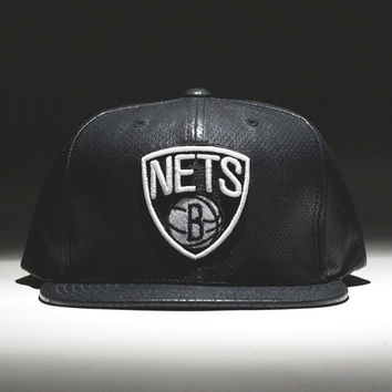 Brooklyn Nets Perforated Leather Snapback Hat Black