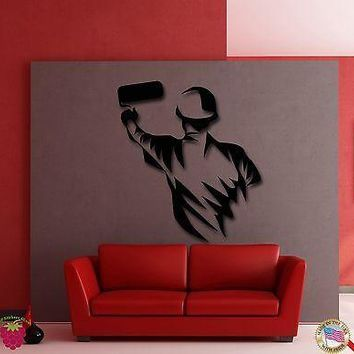 Wall Stickers Vinyl Decal Constraction Guy Painting Wall Funny  Unique Gift (z1974)