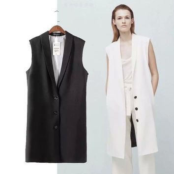 Women's Fashion White Sleeveless Blazer Coat Jacket [4919049284]