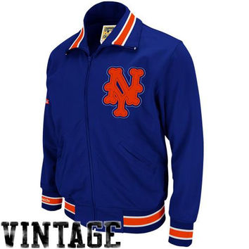 Mitchell & Ness 1986 New York Mets Cooperstown Collection Authentic Full Zip BP Jacket - Royal Blue