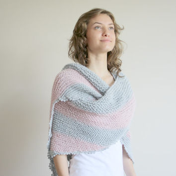 Handmade Silver Grey and Soft Pink Striped Triangle Shawl scarf collar Capelet Cowl Christmas Gift Under75