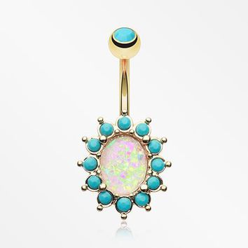 Golden Elegant Opal Turquoise Belly Button Ring