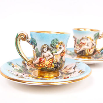 Vintage Cherub Teacups Capodimonte Italy Demitasse Tea Cups Saucers Raised Figural Angels Relief Pattern Grecian Figures