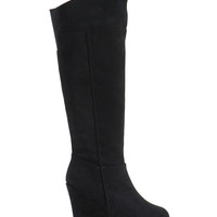 Angled View Faux Suede Wedge Boots