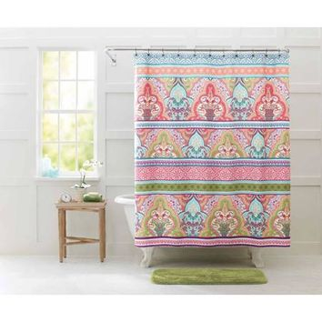 Better Homes And Gardens Jeweled Damask Shower Curtain, Brown   Walmart.com