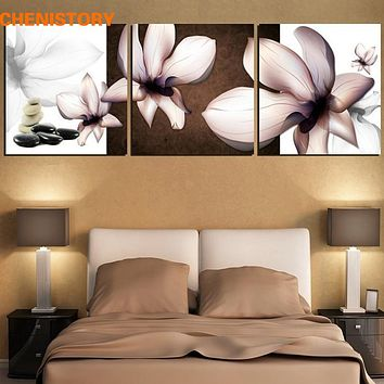 Unframed 3 Panel Transparent Water Lilies Modern Wall Art Picture Paint On Canvas For Bedroom Home Wall Decor Unique Gift