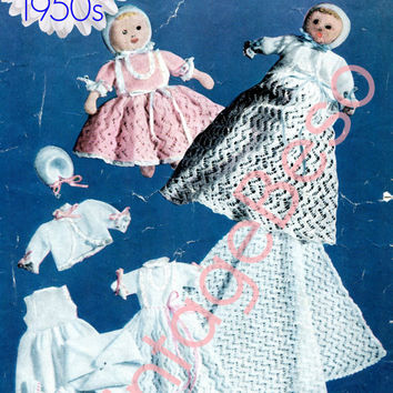 8 Pattern Vintage 1950s Doll Knitting Pattern Vest Napkin Petticoat Dress Jacket Shawl Bonnet Knitting Pattern Instant Download PDF Pattern