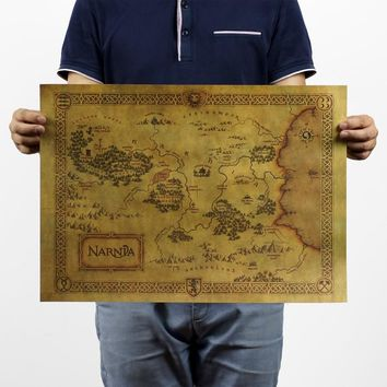 Legend of NARNIA/ Treasure map/ Kraft poster/ brown paper / bar coffee shop decoration painting 51x35.5cm