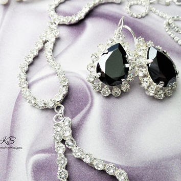 Swarovski Crystal Bridal Drop Earrings, Pear Shaped, Hand Set, Halo Crystal, Black, Lever Back, DKSJewelrydesigns, FREE SHIPPING