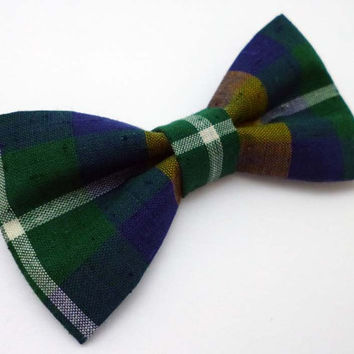 Plaid mens bow tie, mens green bow tie, green plaid bow tie, vintage fabric bow tie