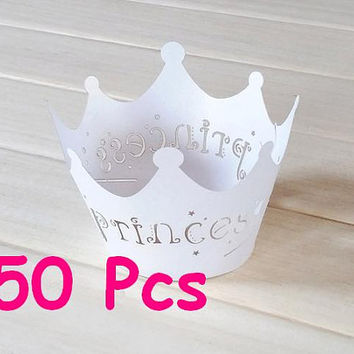 Princess crown Cupcake Wrappers Black princess castle laser cut wrapper fairytale wraps collars white lace wrapper birthday cake wrapper