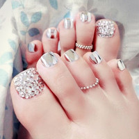 24 pcs Metal Silver Charming Full Cover French 3D Toe Nails