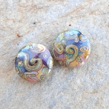 Lampwork Beads, Glass Bead Pair, Unique Enameled Beads, Handmade Lampwork Jewelry Supplies