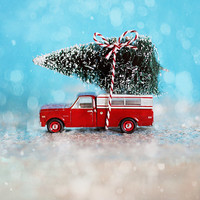 SALE Christmas Photography, Chevy Christmas, teal, red, white, tree, snow, glitter, bow
