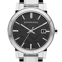 Burberry Large Check Stamped Bracelet Watch, 38mm - Silver/ Black