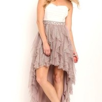 strapless two tone dress with iridescent stone trim waist and high low tendril skirt