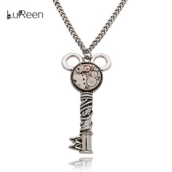 LuReen Vintage Real Watch Parts Gear Necklaces Handmade Steampunk Key Pendant Necklace Long Chains Men Women Jewelry Gift LN0240