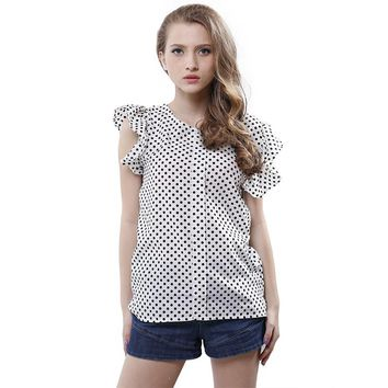Summer Women Blouses New Plus Size Print shirts Casual Women Top Ruffles Sleeve Polka Dot Blouses For Women