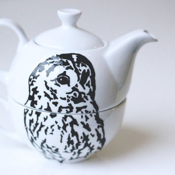 Hand illustrated Owl tea for one teapot set by Chelsie Alice