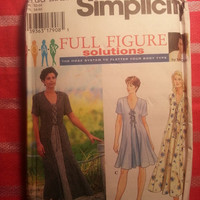 Uncut 1995 Simplicity Sewing Pattern, 9536! 26W-28W-30W-32W Full Figure/Plus/Women's/Misses/Hoax system/Short or Long Sleeve Dresses/Corset