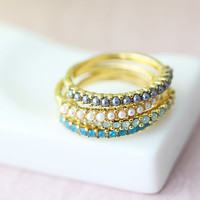 2EA Select Pearls Ring Crystal Stack Ring Gold Plated Ring 7.0 US Size Knuckle Ring Jewelry gift idea