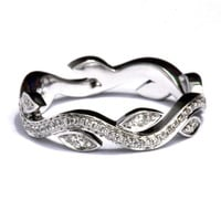 Leaf Eternity WEDDING BAND NO Milgrain - Flower - Diamond - Vine - Right Hand Ring - Platinum - fL07